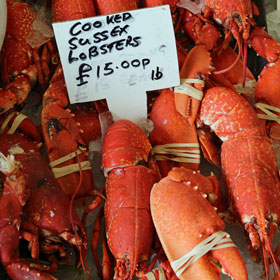 Lobsters on sale in London's Borough Market