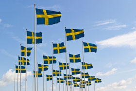 Swedish flags fluttering in the breeze