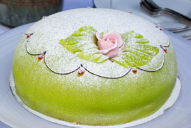 A princess cake baked by Bageriet, the Swedish bakery in London