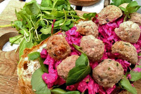Open meatball sandwich